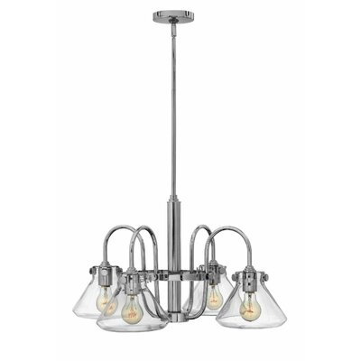 Bunnell Traditional 4-Light Shaded Chandelier with Hand Blown Glass Shade Finish: Chrome