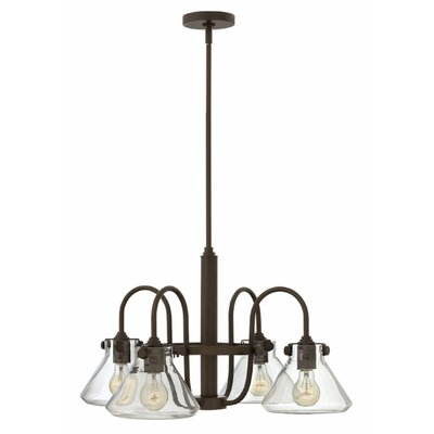 Bunnell Traditional 4-Light Shaded Chandelier with Hand Blown Glass Shade Finish: Oil Rubbed Bronze
