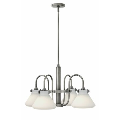 Bunnell 4-Light Cone Shaded Chandelier Finish: Antique Nickel