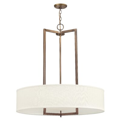 Fouche 3-Light Drum Pendant Bulb Type: 26W GU24, Finish: Brushed Bronze