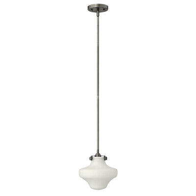Bunnell 1-Light Schoolhouse Pendant Finish: Antique Nickel, Bulb Type: 18W GU24