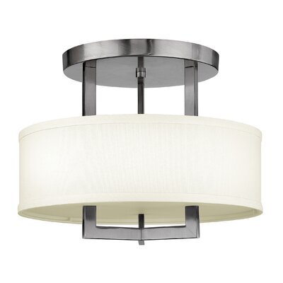 Fouche 3-Light Semi-Flush Mount Size: 14.5 H x 26 W, Bulb Type: 26W GU24, Finish: Antique Nickel