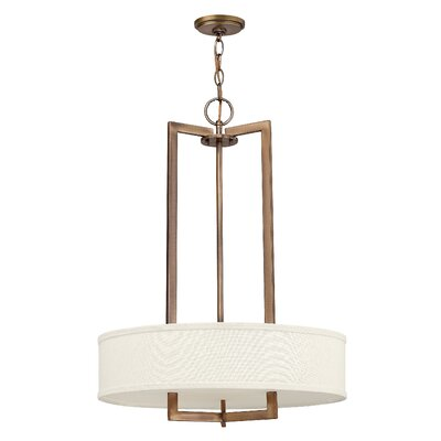 Fouche 3-Light Drum Pendant Finish: Brushed Bronze, Size: 30.25 H x 26 W x 26 D, Bulb Type: 26W GU24