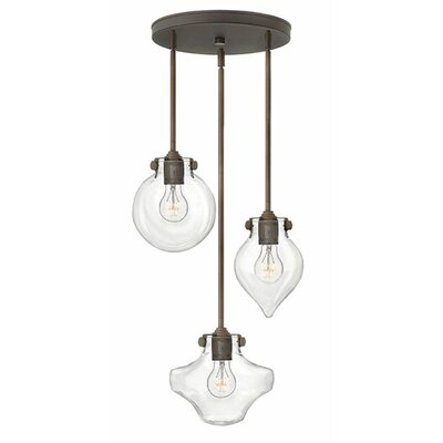 Bunnell 3-Light Cascade Pendant Finish: Oil Rubbed Bronze, Shade Color: Clear Seedy