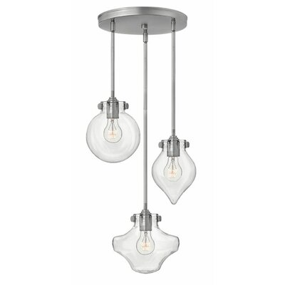 Bunnell 3-Light Cascade Pendant Finish: Antique Nickel, Shade Color: Clear Seedy