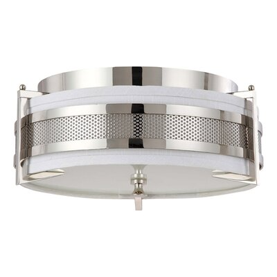 Ferriera Flush Mount Size / Finish / Shade Finish / Bulb Type: 8.5 H x 24 W / Pol. Nickel / Gray / Incand.