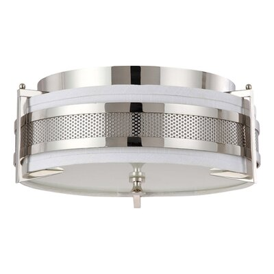Ferriera Flush Mount Size / Finish / Shade Color / Bulb Type: 8.5 H x 24 W / Pol. Nickel / Gray / Incand.