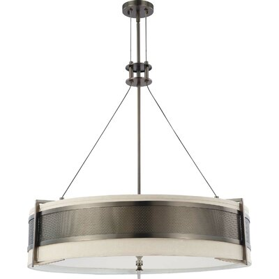 Ferriera 6-Light Drum Pendant Finish: Pol. Nickel, Shade Color: Gray, Bulb Type: Incandescent