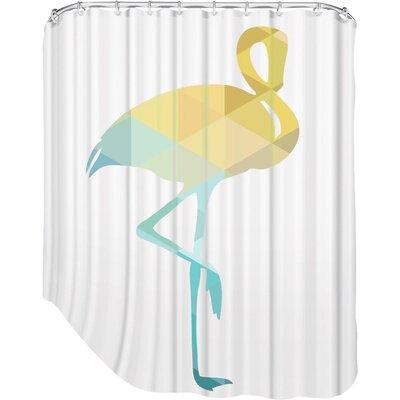 Melinda Wood Flamingo Shower Curtain Color: Blue Yellow