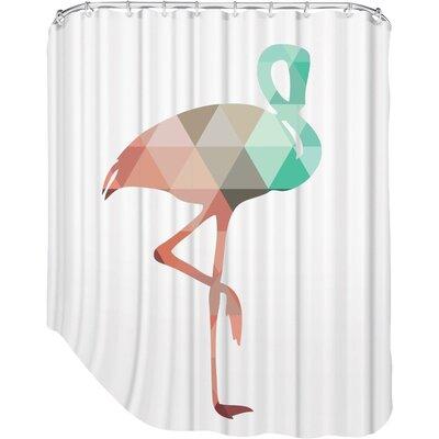Melinda Wood Flamingo Shower Curtain Color: Mint Coral