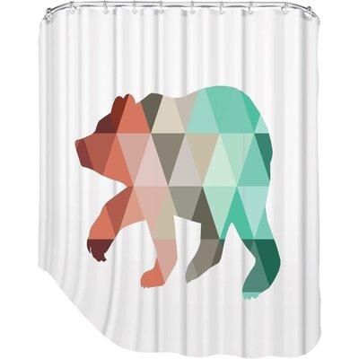 Melinda Wood Bear Shower Curtain Color: Mint Coral