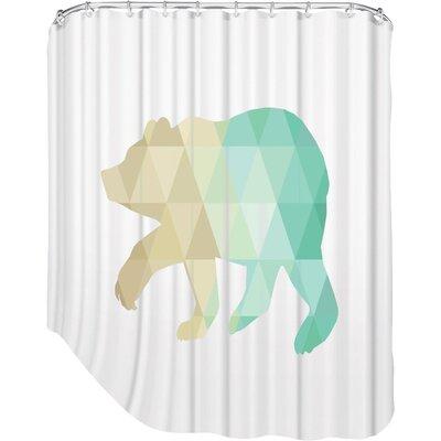 Melinda Wood Bear Shower Curtain Color: Mint Gold