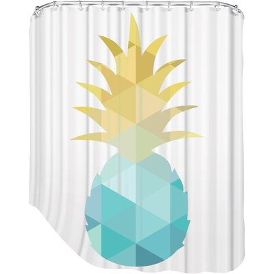Melinda Wood Pineapple Shower Curtain Color: Blue Yellow