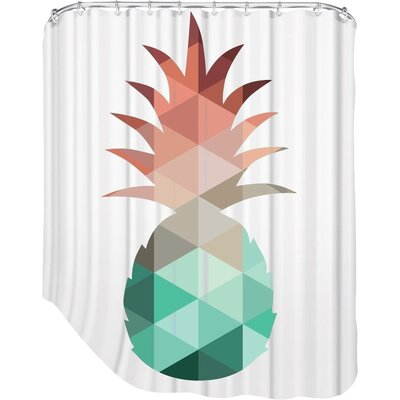 Melinda Wood Pineapple Shower Curtain Color: Mint Coral