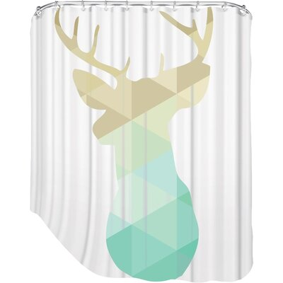 Melinda Wood Deer Shower Curtain Color: Gold Mint