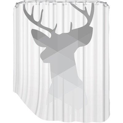 Melinda Wood Deer Shower Curtain Color: Grey