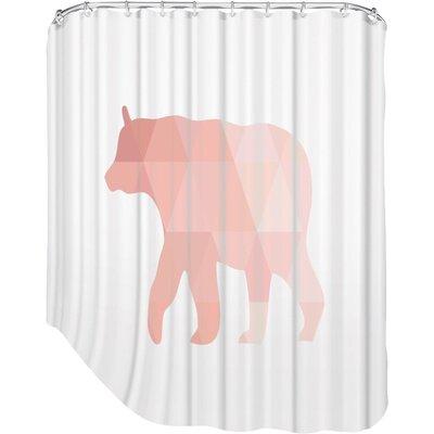 Melinda Wood Bear Shower Curtain Color: Coral