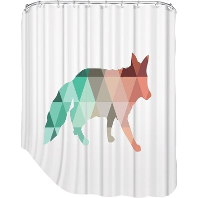 Melinda Wood Fox Shower Curtain Color: Coral Mint