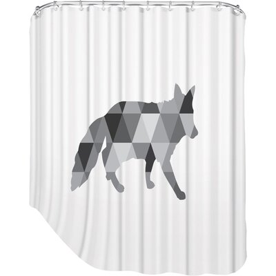Melinda Wood Fox Shower Curtain Color: Grey