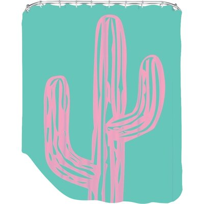 Ashlee Rae Cactus Shower Curtain Color: Pink