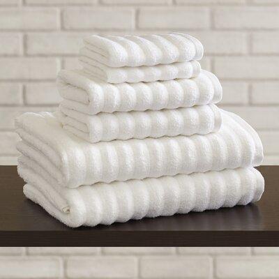 Luxury Quick Dry Cotton 6 Piece Stripe Cotton Towel Set Color: White