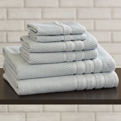 Delfino Rice Weave 6 Piece Towel Set Color: Seafoam