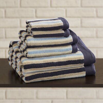 6 Piece Cotton Towel Set Color: Blue