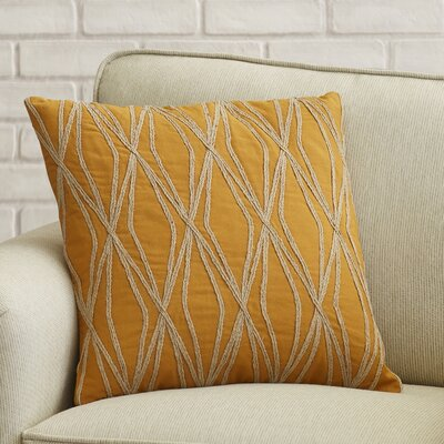 Chan 100% Cotton Throw Pillow Size: 18 H x 18 W x 4 D, Color: Orange, Filler: Down