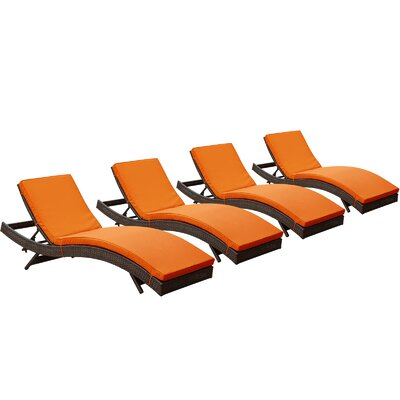 Ludwick Chaise Lounge with Cushion Fabric: Orange