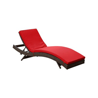 Ludwick Chaise Lounge with Cushion Fabric: Red