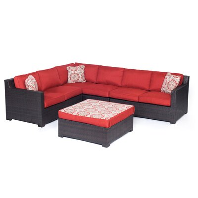 Abraham 5 Piece Lounge Seating Group with Cushions Color: Autumn Berry