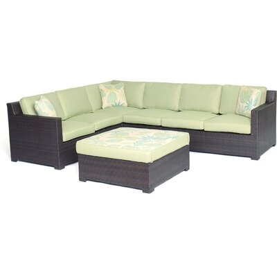 Abraham 5 Piece Lounge Seating Group with Cushions Color: Avocado Green