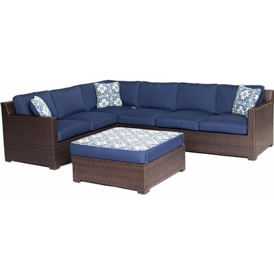 Abraham 5 Piece Lounge Seating Group with Cushions Color: Navy Blue