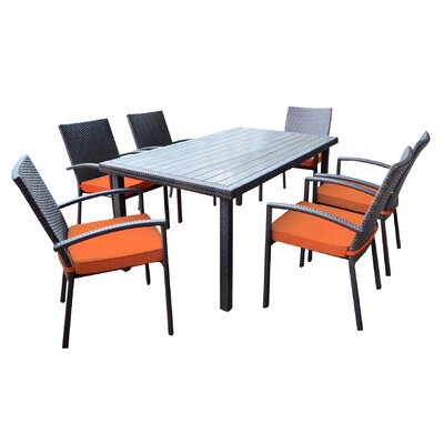 Shull 7 Piece Dining Set with Cushions Finish: Orange