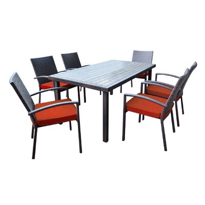 Shull 7 Piece Dining Set with Cushions Finish: Red