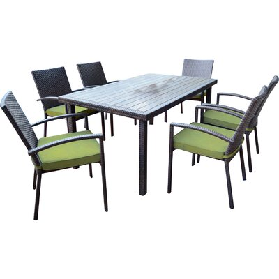 Shull 7 Piece Dining Set with Cushions Finish: Green