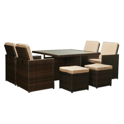 Tabarez 9 Piece Dining Set with Cushions