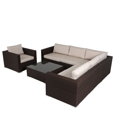 Strawn 5 Piece Sectional Seating Group Finish: Brown