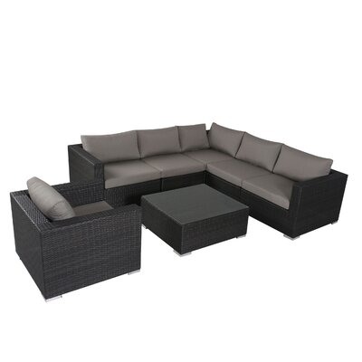 brayden studio murillo 7 piece sectional sectional seating group finish grey - Outdoor Sectionals