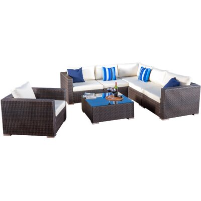 Strawn 7 Piece Sectional Seating Group with Cushions Finish: Multibrown