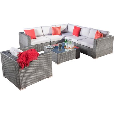 Strawn 7 Piece Sectional Seating Group with Cushions Finish: Silver Grey