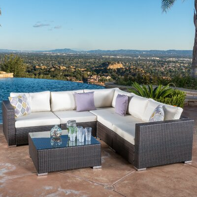 Strawn 6 Piece Rattan Sectional Set with Cushions