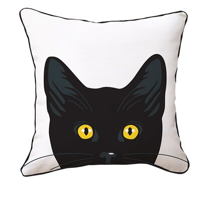 Landeros Yellow Eyes Cat Reversible Cotton Throw Pillow