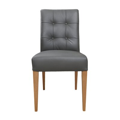 Tyner Leather Side Chair Upholstery: Gray