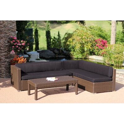 Doerr 3 Piece Deep Seating Group with Cushion Fabric: Coffee