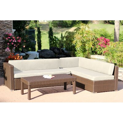 Doerr 3 Piece Deep Seating Group with Cushion Fabric: Tan