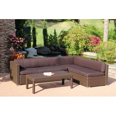 Doerr 3 Piece Deep Seating Group with Cushion Fabric: Brown
