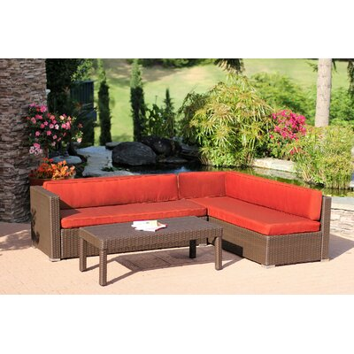 Doerr 3 Piece Deep Seating Group with Cushion Fabric: Red Orange