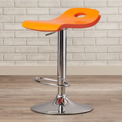 Barron Adjustable Height Swivel Bar Stool Upholstery: Orange