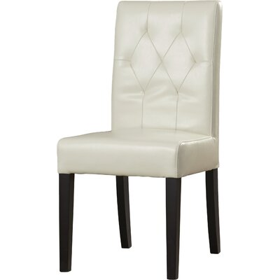 Cherry Bonded Leather Upholstered Dining Chair Upholstery: Ivory